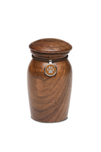 Extra Small Rosewood Vase with Brown Paw Print Charm Pet Cremation Urn for Ashes