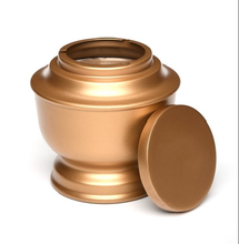 Load image into Gallery viewer, Large/Adult 200 Cubic Inch Gold Simple Aluminum Funeral Cremation Urn for Ashes