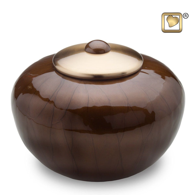 Simplicity Bronze Round Adult Funeral Cremation Urn,  110 Cubic Inches