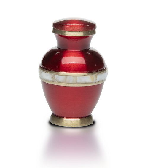 Small Sapphire Red Jewel Tone Brass w/ Mother of Pearl Band Cremation Urn