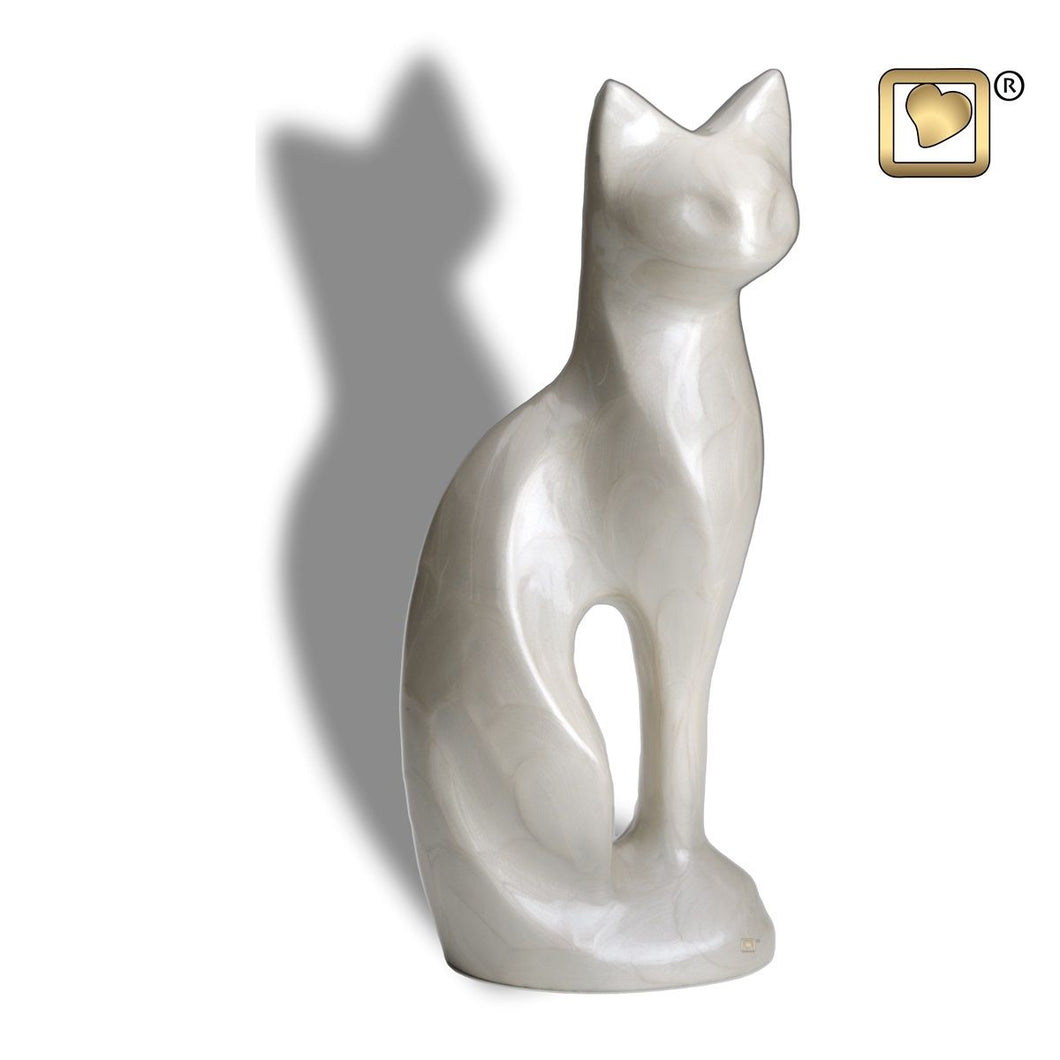 White Cat Pet Funeral Cremation Urn, 16.5 Cubic Inches