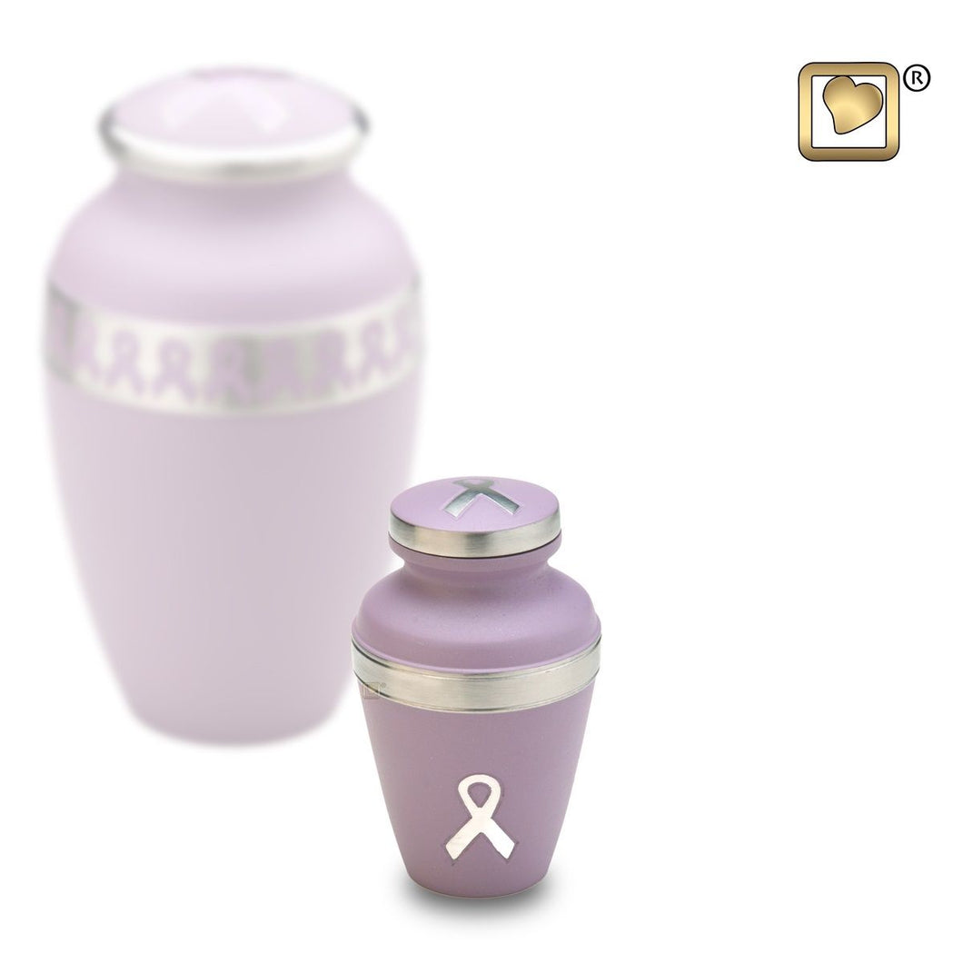 Pink Awareness Keepsake Funeral Cremation Urn, 3 Cubic Inches