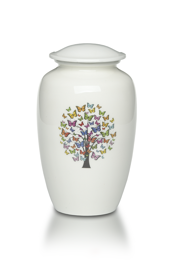 Large/Adult 220 Cubic Inch Alloy Funeral Cremation Urn w/ Butterfly Tree
