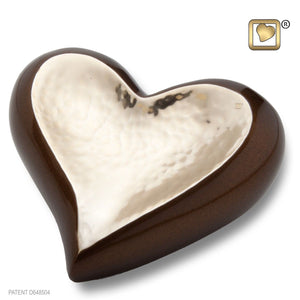 Hammered Gold Keepsake Heart Funeral Cremation Urn, 2.5 Cubic Inches