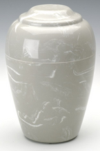 Load image into Gallery viewer, Grecian Gray Marble 35 Cubic Inches Funeral Cremation Urn Keepsake, TSA Approved