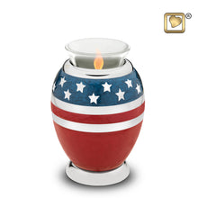 Load image into Gallery viewer, Stars & Stripes American Flag Heart Funeral Cremation Urn, 3 Cubic Inches