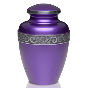 Large/Adult 200 Cubic Inch Purple Alloy Funeral Cremation Urn for Ashes