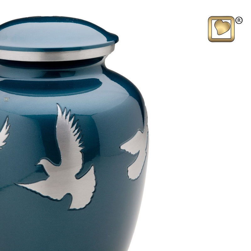 Flying Doves Adult Funeral Cremation Urn, 200 Cubic Inches