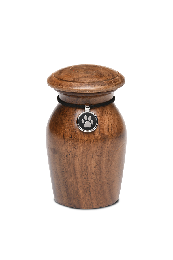 Extra Small Rosewood Vase with Black Paw Print Charm Pet Cremation Urn for Ashes