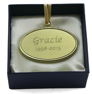 Alloy Oval Pendant / Nameplate / Medallion For Cremation Urns- Gold Colored