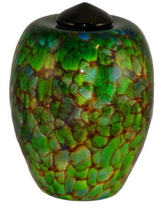 Large/Adult 220 Cubic Inch Florence Forest Funeral Glass Cremation Urn for Ashes