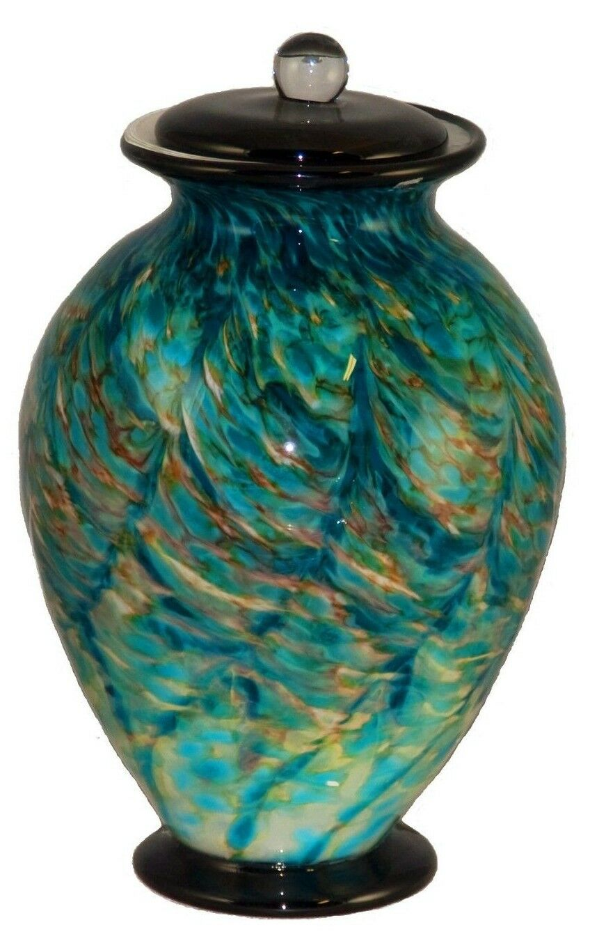 XL/Companion 400 Cubic Inch Venice Aegean Funeral Glass Cremation Urn for Ashes