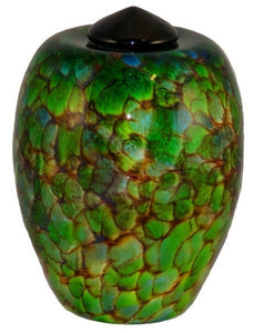XL/Companion 400 Cubic In Florence Forest Funeral Glass Cremation Urn for Ashes