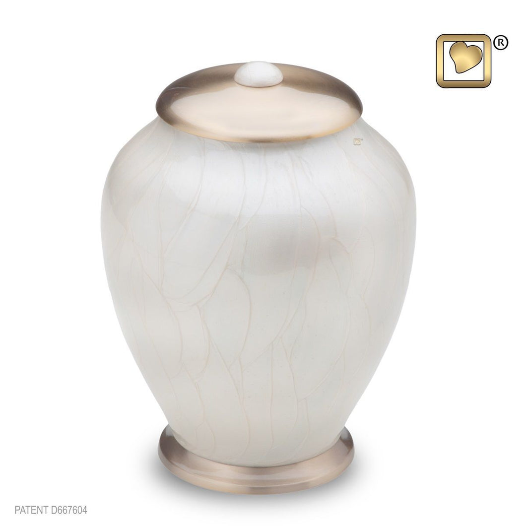 Simplicity Pearl Large Pet Funeral Cremation Urn, 105 Cubic Inches