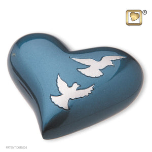 Flying Doves Keepsake Heart Funeral Cremation Urn, 2.5 Cubic Inches
