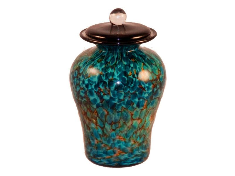 100 Cubic Inch Palermo Aegean Funeral Glass Cremation Urn for Ashes