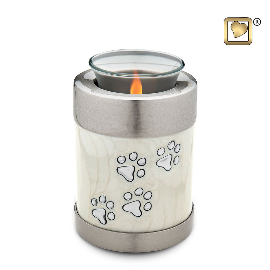 Pearl Colored Tealight Funeral Pet Cremation Urn, 18 Cubic Inches