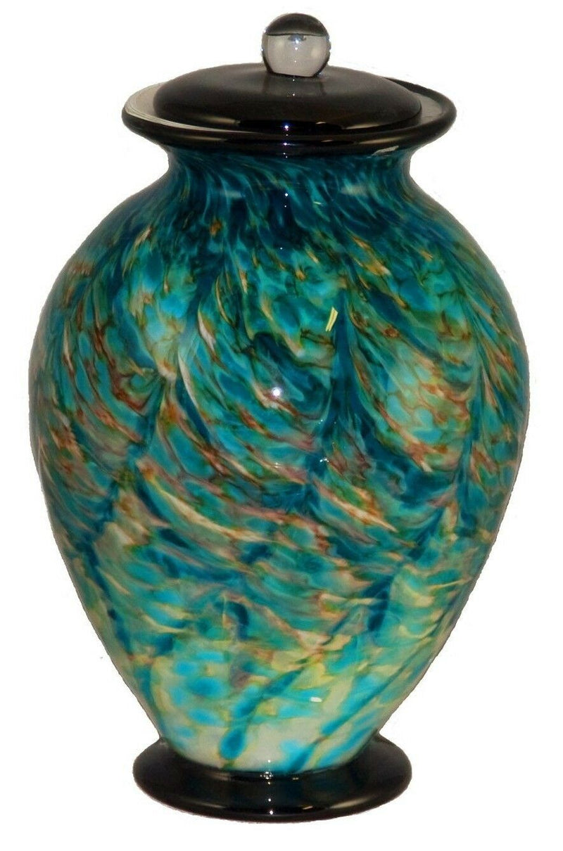 Large/Adult 220 Cubic Inch Venice Aegean Funeral Glass Cremation Urn for Ashes