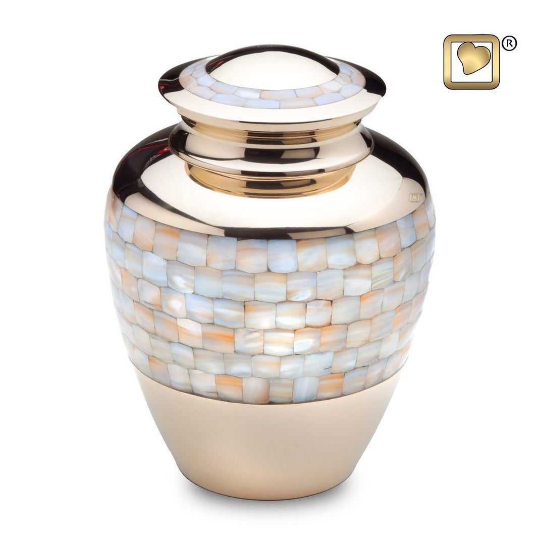 Mother of Pearl Adult Funeral Cremation Urn,  200 Cubic Inches