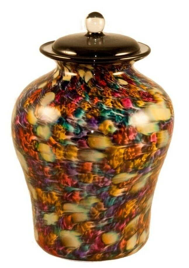 XL/Companion 400 Cubic In Palermo Autumn Funeral Glass Cremation Urn for Ashes