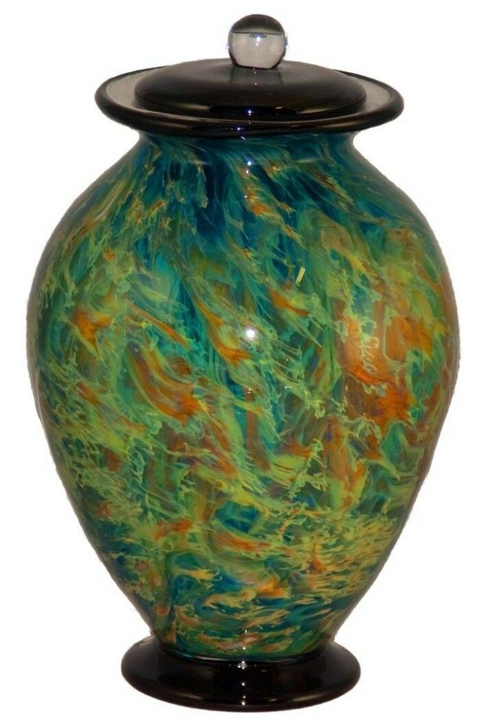 Large/Adult 220 Cubic Inch Venice Nuvole Funeral Glass Cremation Urn for Ashes