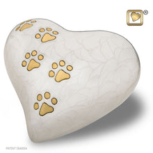 Load image into Gallery viewer, White Pearlescent Heart Medium Pet Funeral Cremation Urn, 30 Cubic Inches