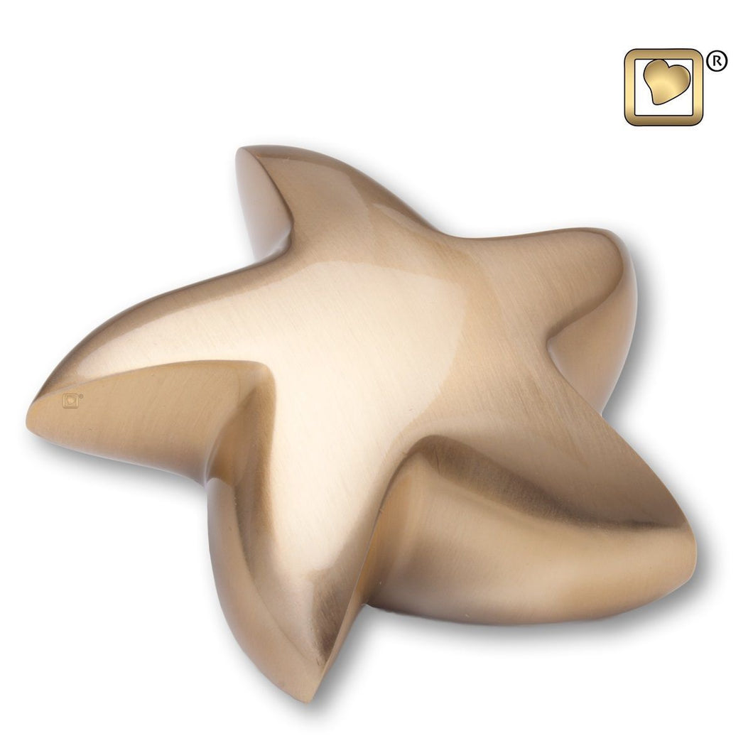 Brushed Gold Star Keepsake Funeral Cremation Urn, 2.5 Cubic Inches