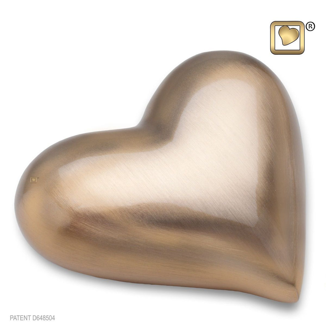 Heart Brushed Gold Keepsake Heart Funeral Cremation Urn,  2.5 Cubic Inches