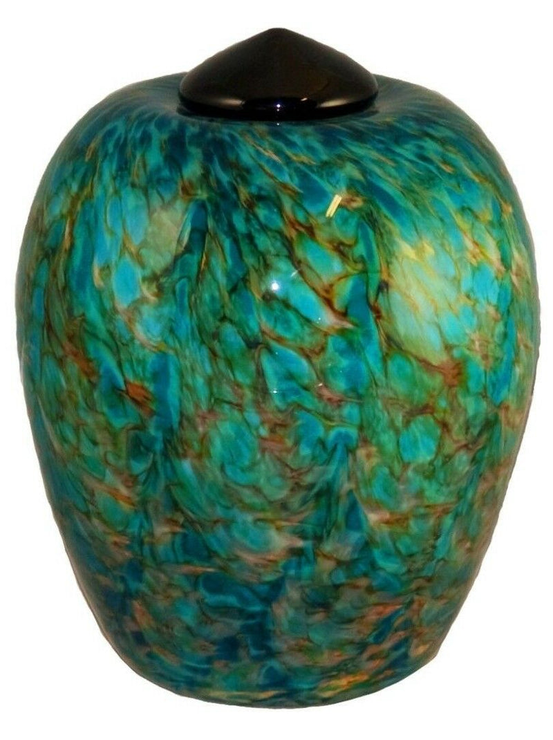 XL/Companion 400 Cubic In Florence Aegean Funeral Glass Cremation Urn for Ashes