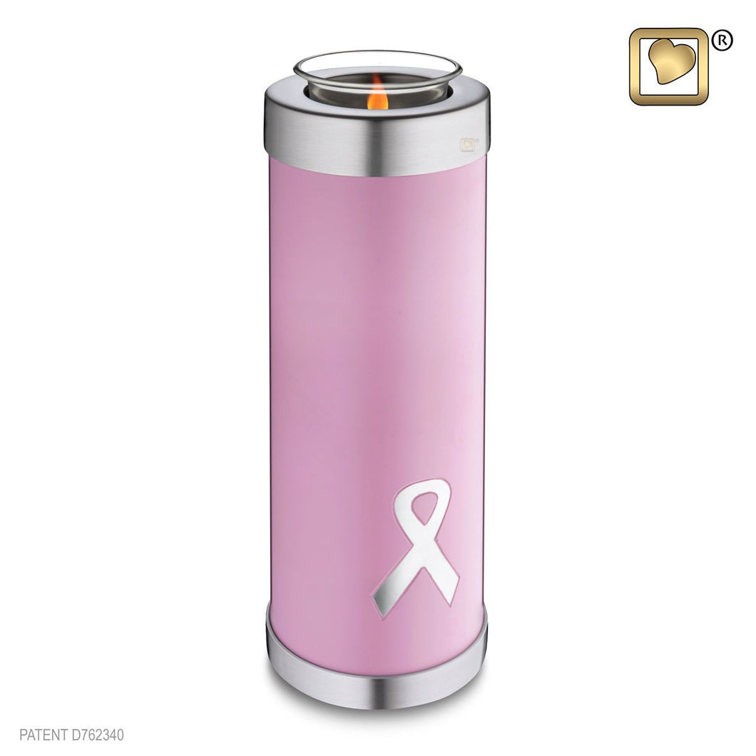 Tealight Awareness Pink Funeral Cremation Urn, 58 Cubic Inches
