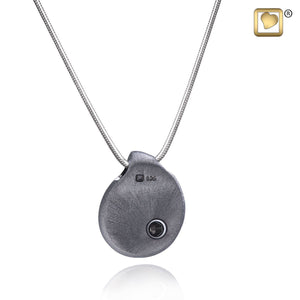 TearDrop Ruthenium Plated 925 Silver 2-Tone Cremation Pendant Urn with chain