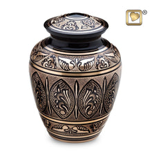 Black and Gold Adult Funeral Cremation Urn,  200 Cubic Inches