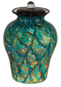 XL/Companion 400 Cubic In Palermo Aegean Funeral Glass Cremation Urn for Ashes