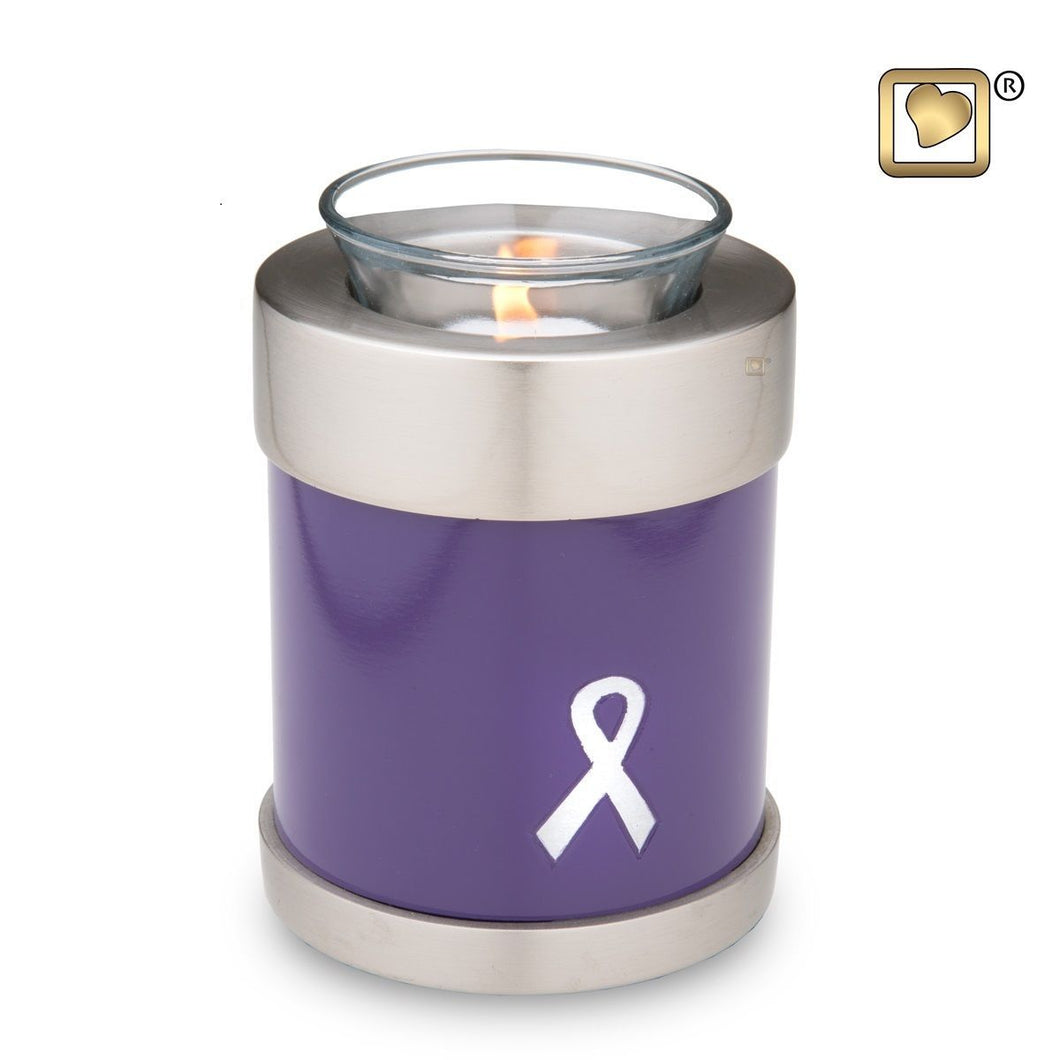 Purple Awareness Tealight Infant/Child/Pet Funeral Cremation Urn,18 Cubic Inches