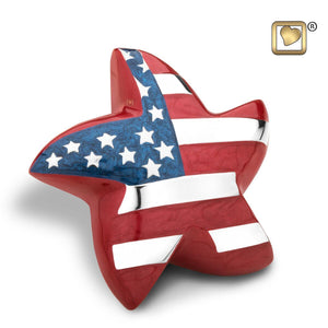 Stars & Stripes American Flag Keepsake Star Funeral Cremation Urn, 3 Cubic Inch