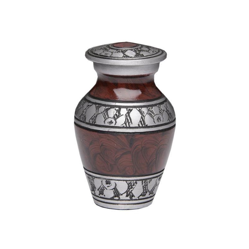 Small/Keepsake 3 Cubic Inch Brown Alloy Funeral Cremation Urn for Ashes