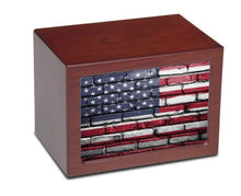 Load image into Gallery viewer, Large/Adult 175 Cubic Inch US Flag Photo Frame MDF Wooden Funeral Cremation Urn