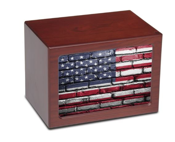 Large/Adult 175 Cubic Inch US Flag Photo Frame MDF Wooden Funeral Cremation Urn