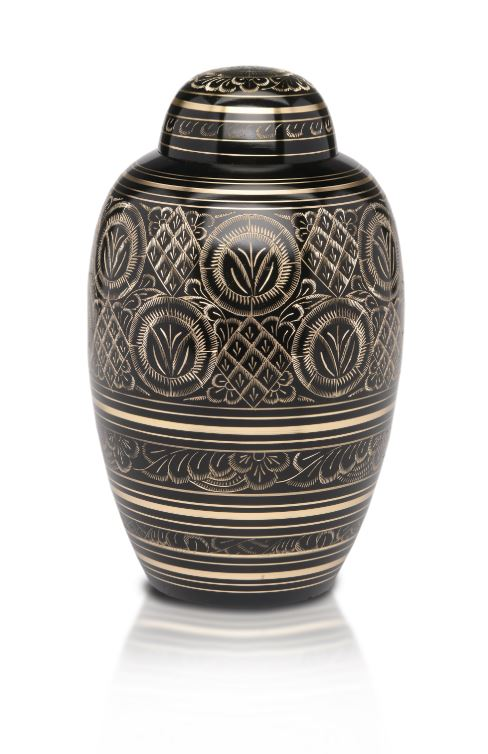 Large/Adult 200 Cubic Inch Black & Gold Brass Funeral Cremation Urn for Ashes
