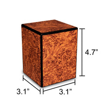 Load image into Gallery viewer, Society Burl 48 Cubic Inches Small/Keepsake Wood Box Cremation Urn for Ashes