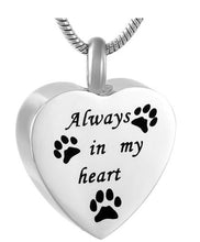 "Load image into Gallery viewer, Stainless Steel Heart Paw Prints ""Always in my heart"" Cremation Urn Pendant w/Chain"