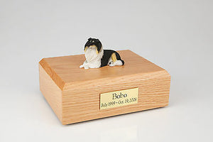 Tri-color Collie Pet Funeral Cremation Urn Avail in 3 Different Colors & 4 Sizes