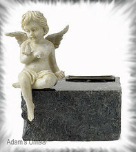 Load image into Gallery viewer, Solid Black Marble,Child/Infant/Pet Size Funeral Cremation Urn Keepsake w. Angel