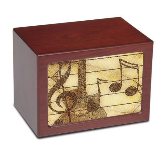 Large/Adult 175 Cubic Inch Music Notes Photo Frame MDF Wooden Cremation Urn
