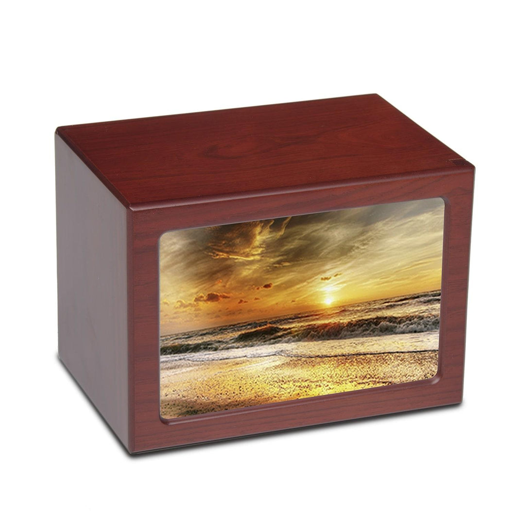 Large/Adult 150 Cubic Inch Beach Sunset Photo Frame MDF Wooden Cremation Urn