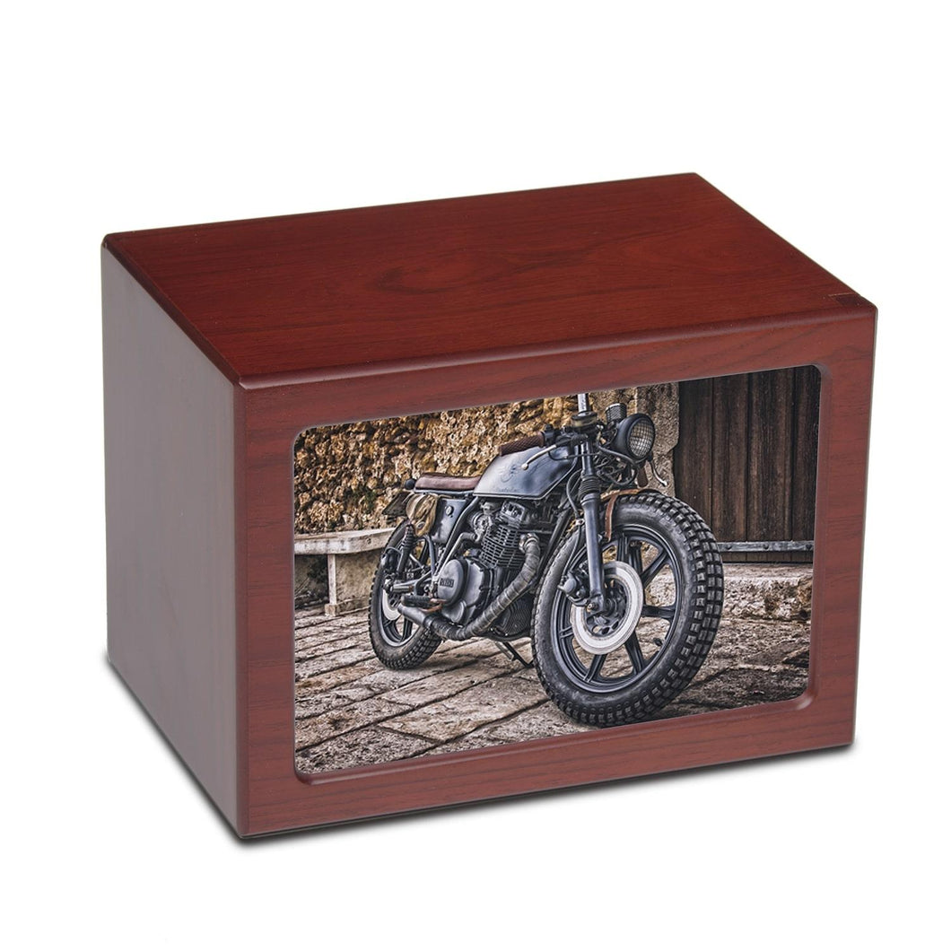 Large/Adult 150 Cubic Inch Motorcycle Photo Frame MDF Wooden Cremation Urn