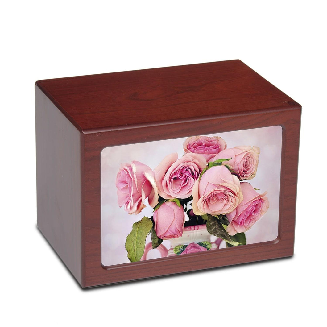 Large/Adult 150 Cubic In. Pink Rose Photo Frame MDF Wooden Cremation Urn
