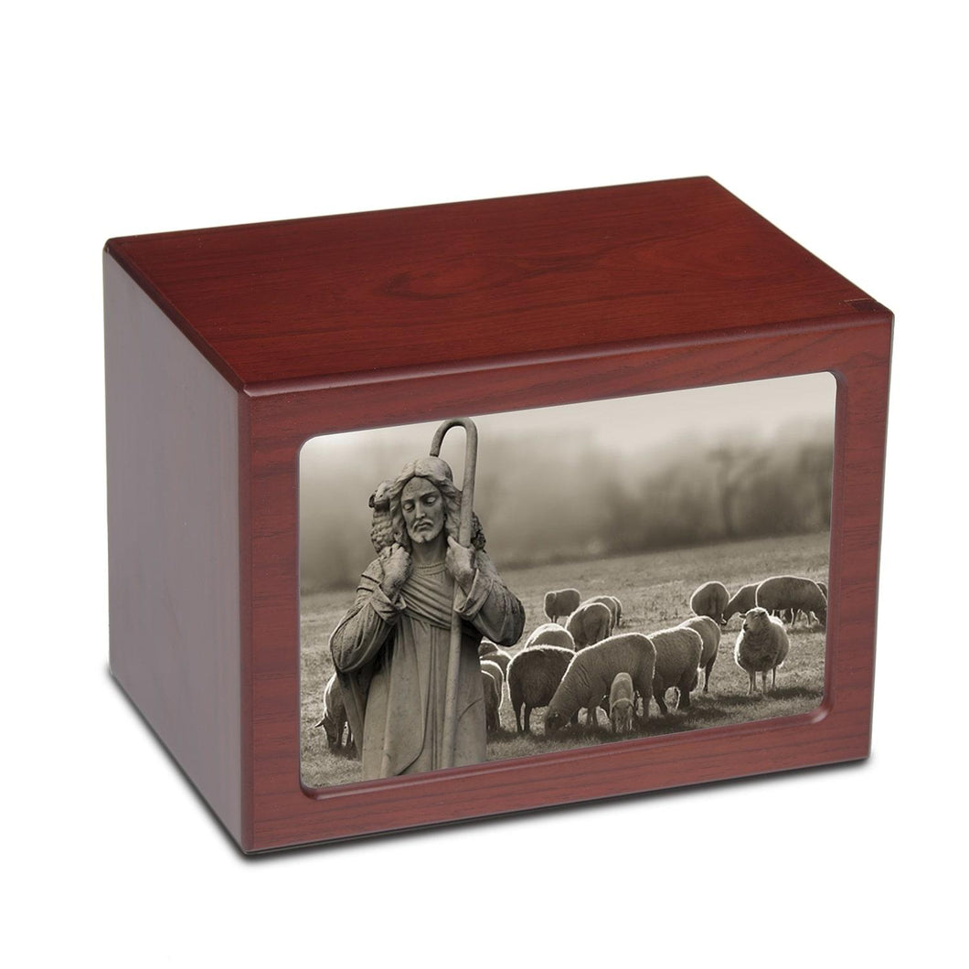 Large/Adult 150 Cubic In Jesus with Flock Photo Frame MDF Wooden Cremation Urn