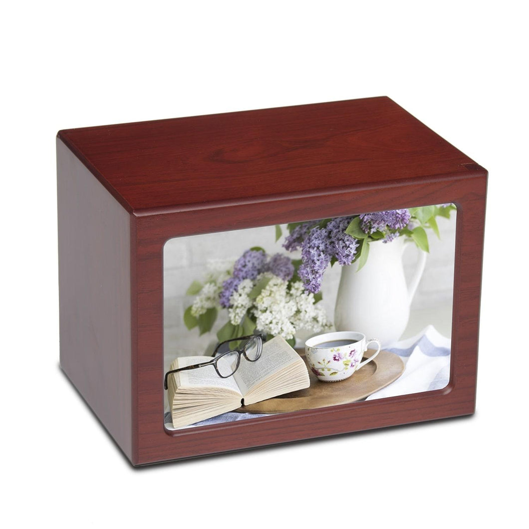 Large/Adult 150 Cubic Inch Tea Cup Photo Frame MDF Wooden Funeral Cremation Urn