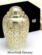 Solid Brass - Silver and Gold Colored Keepsake Cremation Urn w. Velvet Heart Box